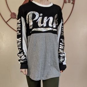 Pink victoria secret black & gray sequin long top